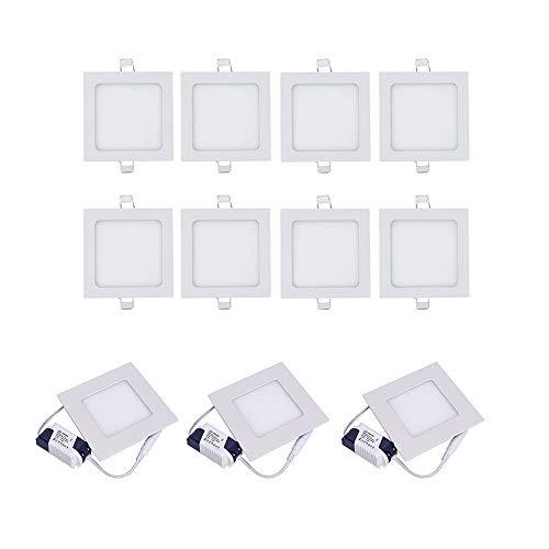 Set di 10 fareti a LED da incasso da 6W, 6000-6500 K, luce bianca fredda, pannello quadrato, antinebbia, faretti piatti per bagno, corridoio, palcoscenico, ufficio moderno
