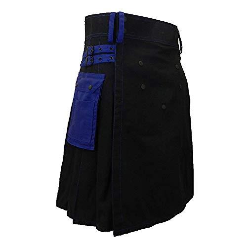 Loozykit Herren Gothic Schottenrock Tartanmuster Schottischer Utility Kilt Klassischer Rock Highland Kleid Cargo Kilt Traditionell Schottenrock Verstellbar Mittellanger Rock (2XL, Blau #1)