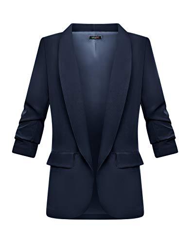 Zarlena Chaqueta tipo blazer de manga 3/4 para mujer, elegante, larga, cuello de solapa, chaqueta