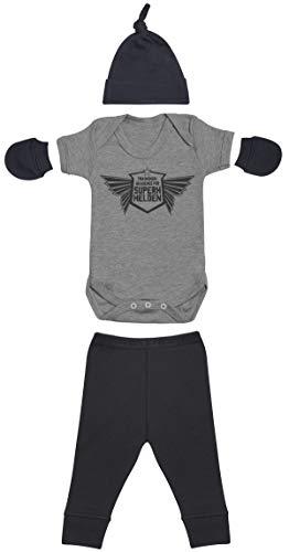 Zarlivia Clothing Trainings-Akademie Für Superhelden Grau Body, Schwarz Baby Hüte/Mützen, Schwarz Baby Hose, Schwarz Baby Fäustlinge, Bekleidungssets - 0-3 Monate