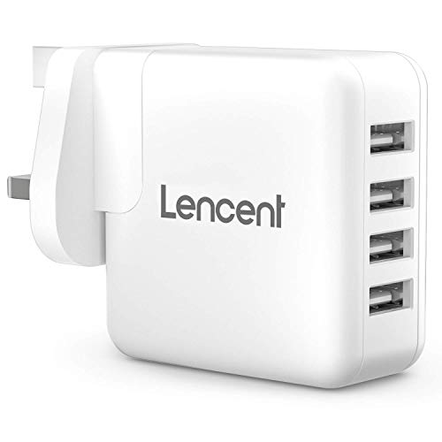 LENCENT USB Plug, 4-Port 24W/4.8A USB Charger Plug Cube Portable UK Power Adapter Plug with Smart IC Technology for iPhone, iPad, Samsung Galaxy, Huawei and etc