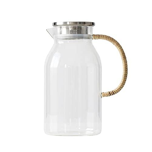 OCEON Jarra de Vidrio de 70 oz, Jarra de Agua con Tapa, Lanzador de té Helado para Nevera, Jarra de Vidrio para Bebidas frías o Calientes