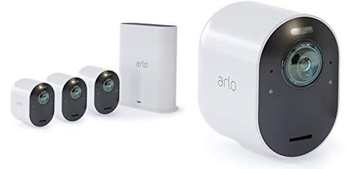 Arlo Ultra Vms5440 Sistema de videovigilancia Wi-Fi con cámaras de seguridad 4 4K, calles de audio 2, luz, Bluetooth, visión día / noche 180, interior / exterior, Alexa / Google Compatible con Wi-Fi