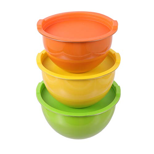 DOITOOL 3pcs Stainless Steel Large Mixing Bowls with Lids Salad Nesting Bowls Cooking Pot for Baking Food Prep Storage 18cm 20cm 22cm