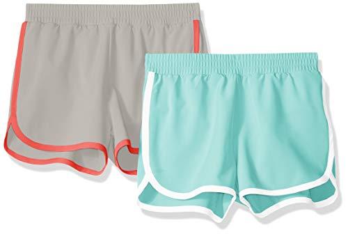 Amazon Essentials - Pack de 2 pantalones cortos deportivos para correr de niña, Aguamarina/gris, US 3T (EU 98–104)