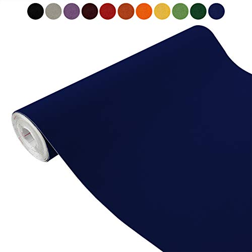 Askol DecoMeister Klebefolien in Velour-Optik Velourfolie Deko-Folien Velourdekor Selbstklebefolie Möbelfolie Selbstklebend 90x100 cm Velours dunkelblau - Blau