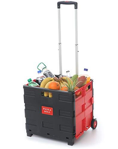 Praknu Einkaufstrolley Einkaufskorb Faltbar Rot | Belastbar bis 35kg | Ladekapazität 50L | Mit Ausziehgriff
