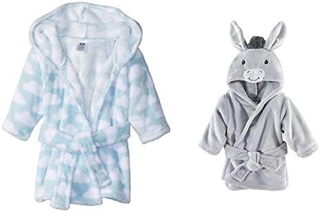 Hudson Baby Boy Plush Animal Award Face Bathrobe Blue Opening large release sale D Clouds 2-Pack