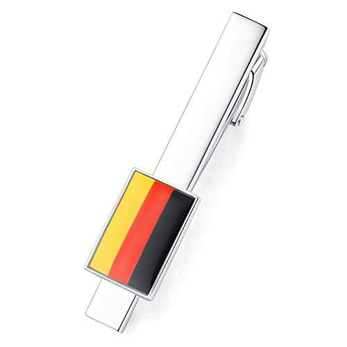 HONEY BEAR Hochwertig Herren National Flagge Krawattennadel Krawattenklammer Tie Clip aus Edelstahl (Deutsche Deutschland Flagge)
