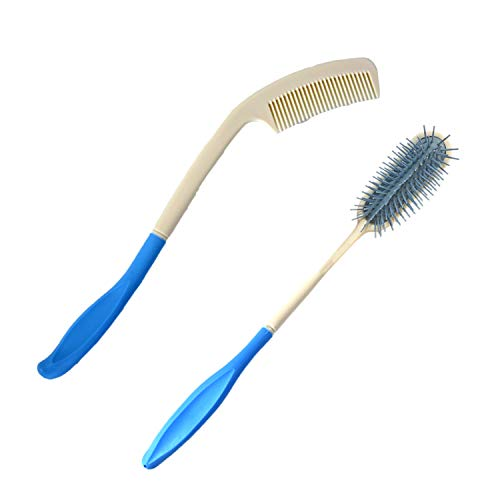Vansun Long Reach Handled Comb and Hair Brush Set | Convenient, Comfort Touch, Applicable for Applicable to Elderly and Hand-Disabled People, Not Need to Lift Hand