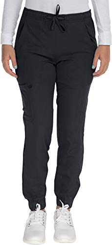 Mini Marilyn Scrub Joggers 4-Way Stretch Elastic Waistband Four Pocket Jogger Pants, Black, XS