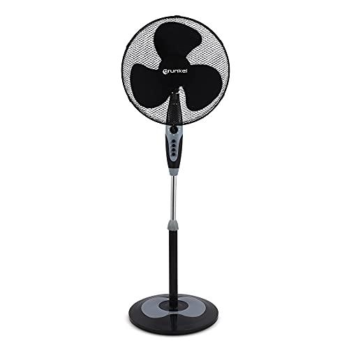 Grunkel - FAN-N16ECOTIMER - Ventilador de pie con temporizador hasta 60 min, 3 velocidades y altura regulable - 50W - Negro