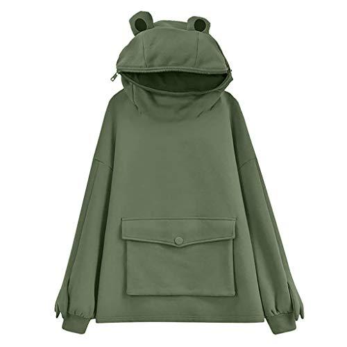 PTMD Koreanische Damen-Kapuzenpullover, süßes Froschaugen, einfarbig, lange Ärmel, übergroß, Baggy Sweatshirt Harajuku große Tasche Pullover Tunika Top