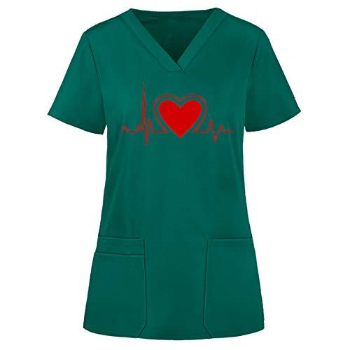 Sllowwa Uniform Frauen Kurzarm V-Ausschnitt Tops Working Uniform Einfarbige Taschenbluse Krankenschwester Arbeitskleidung&Uniformen Krankenhaus Kleidung Schlupfkasack (Armeegrün,S)