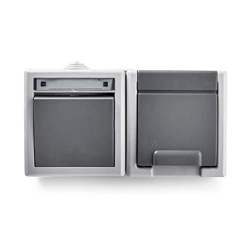 Famatel 19081 Conmutador + Base empotrar | Serie Aquant 55 | IP55 | Protección Infantil | Este Enchufe es a Prueba de Agua | Fácil de Instalar Este Producto | Aluminio | Gris