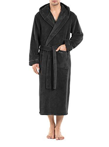 DAVID ARCHY Men's Hooded Fleece Plush Soft Shu Velveteen Robe Full Length Long Bathrobe