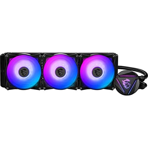 MSI MAG CORELIQUID 360R - AIO RGB CPU Liquid Cooler - Rotating Cap Design - 360mm Radiator - Triple 120mm RGB PWM Fans.