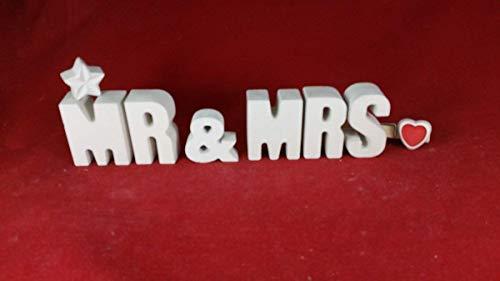 Beton, Steinguss Buchstaben 3 D Deko Schriftzug Namen MR & MRS als Geschenk verpackt! Ein ausgefallenes Hochzeitsgeschenk! Tischdeko Hochzeit.