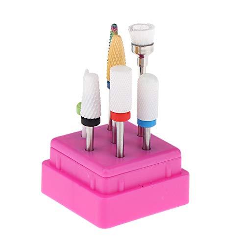 Fenteer 7pcs Set Outil de Manucure Ongles Polissant Outil à Ongles Moulin à Ongles avec Brosse - Base Rose Rouge