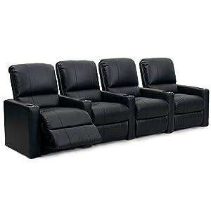 Octane XS300 Sitzladegerät, Row 4 Kinostühle, Lederfaserstoff, Chaise-Stil-Fußstütze, Lendenwirbelstütze