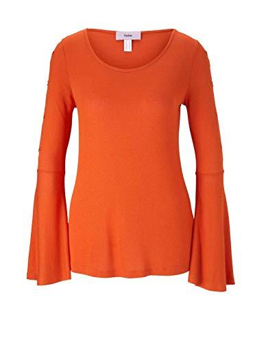 Heine Feinstrickshirt blutorange Volant Bluse Shirt Gr 34 36 40 44 48 (34)