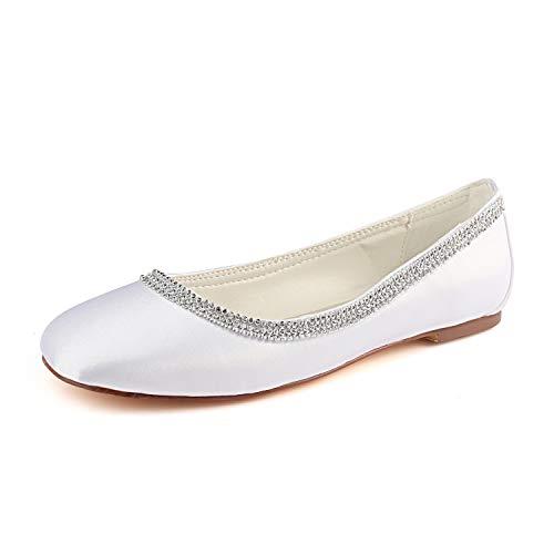 Emily Bridal Zapatos de Novia Blancos Raso Redondo Rhinestones del Dedo del...