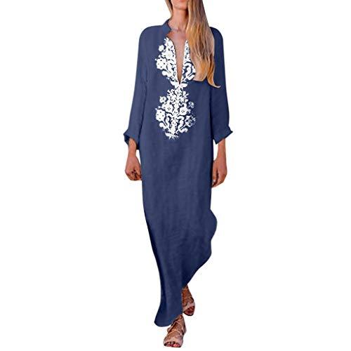 KUKICAT Kleid für Frauen Bedrucktes Langarm-Baumwollkleid