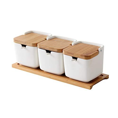 OnePine Set di 3 portaspezie in Ceramica, condimenti Contenitore Zuccheriera con Coperchio Cucchiaio Vassoio, Design Elegante, per Casa e Cucina