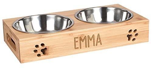 LAUBLUST Futterstation mit Name Personalisiert - Bambus, 2 Edelstahl Fressnäpfe Hund & Katze | L - 38x19x6cm, 2 x 0,75l