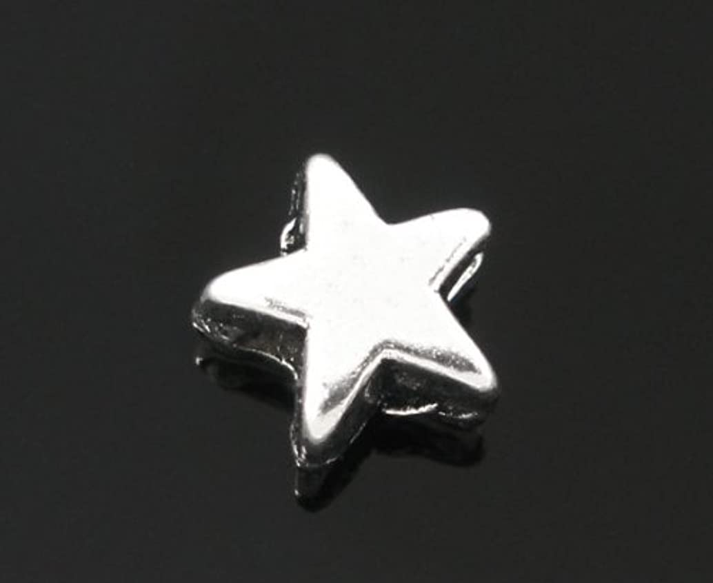 PEPPERLONELY 200pc Antiqued Silver Alloy Spacer Beads Star Shape Charms Pendants 6x6mm (1/4