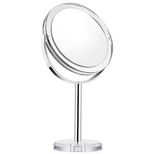Espejo de tocador con 1x/7x, 6rsquo; rsquo; 360deg; espejo giratorio de aumento, espejo de baño con estilo de cristal ZHNGHENG