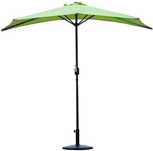 Sombrillas 2.7m (9 pies) Patio exterior semicircular mitad Paraguas con manivela, Parasol redondo circular de semi for la pequeña terraza Balcón Jardín (Color: Naranja) (Color: color de la arena) FACA