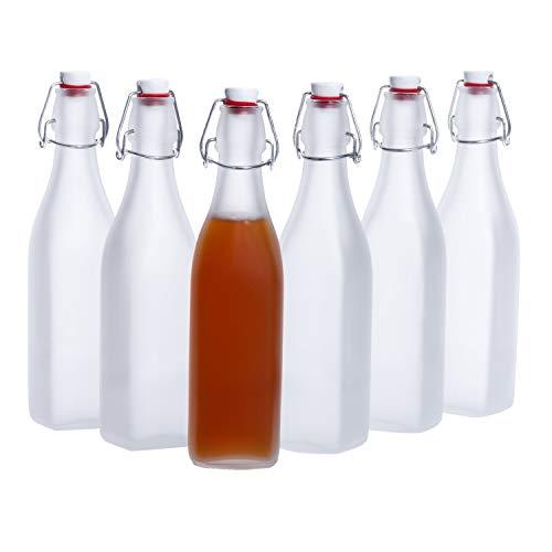 Bormioli Rocco | 6er-Set Vierkant-Bügelflaschen Swing | 500 ml | Frozen-Glas | edle Verpackung | Essig & Öl | Trink-Flaschen | Milchglas transluzent