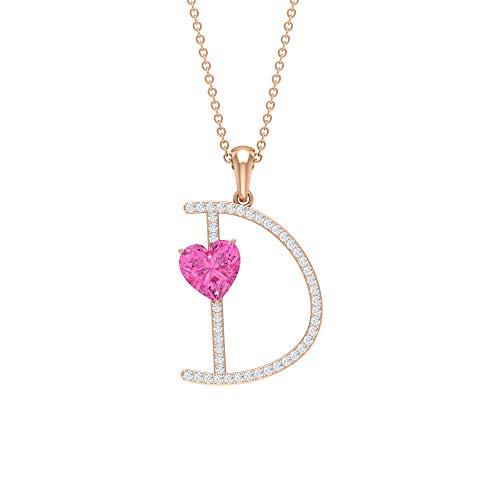 Rosec Jewels 14 quilates oro rosa corazón Round Brilliant Pink zafiro sintético rosa Moissanite