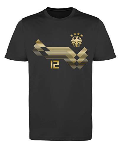 Comedy Shirts EM WM - Trikot - Deutschland 12 - Jungen Trikot - Schwarz/Gold Gr. 110-116