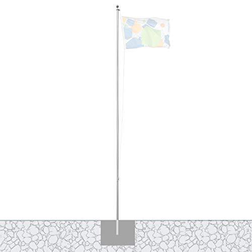 Vispronet Alu-Fahnenmast 6,20 m/ø 50 mm mit Kunststoffbodenhülse ✓ 5-teiliges Mastrohr ✓ Outdoor ✓ leicht ✓ Aluminium