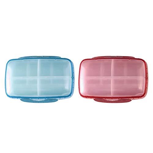 #N/A/a 2Pcs Pastillero Portátil Estuche de Medicina Vitamina Organizador Contenedor Azul + Rosa