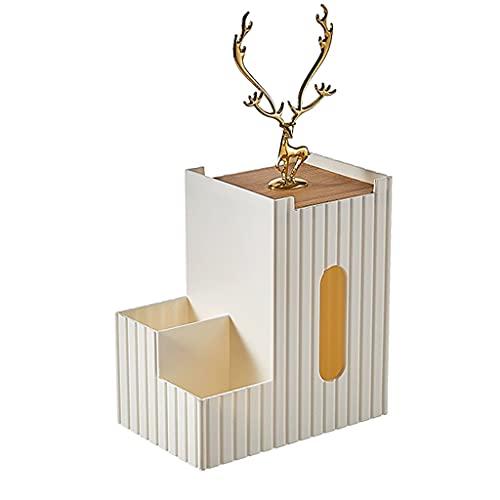Boblen Caja de Almacenamiento de Tejidos multifuncionales, Alces Doradas, Moda de Madera y Caja de Tejido Creativo, Sala de Estar de Sala de Estar. (Color : White, tamaño : 4.3 * 6.9 * 7.5in)