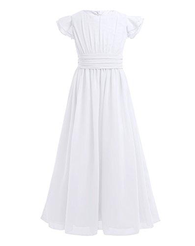 TiaoBug Blumenmädchenkleid festlich Mädchen Kleid Kinder Lange Chiffon Kleider Hochzeit Partykleid 104 116 128 140 152 164 Weiß 152