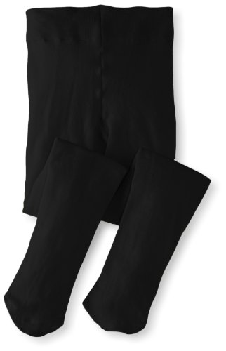 Jefferies Socks Big Girls'  Pima Cotton Tights, Black, 6-8 Years