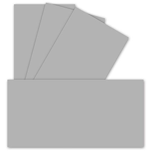 25 Einzel-Karten DIN Lang - 9,9 x 21 cm - 240 g/m² - Hellgrau - Bastelpapier - Tonkarton - Ideal zum Bedrucken für Grußkarten und Einladungen