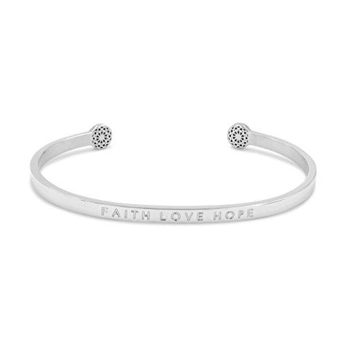 Simple Pledge - Faith Love Hope - Blind - Armreif in Silber mit Gravur für Damen