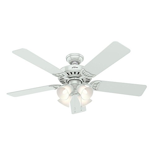 "HUNTER 53062 Studio Series Indoor Ceiling Fan with LED Light and Pull Chain Control, 52"", White"