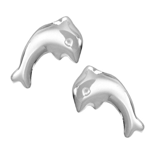 Vinani Ohrstecker Delphin glänzend Sterling Silber 925 Flipper Fisch Delfin Ohrringe ODE