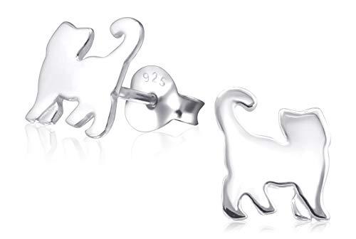 Laimons Mädchen Kids Kinder-Ohrstecker Ohrringe Kinderschmuck Katze Mieze Kitten Haustier glanz aus Sterling Silber 925