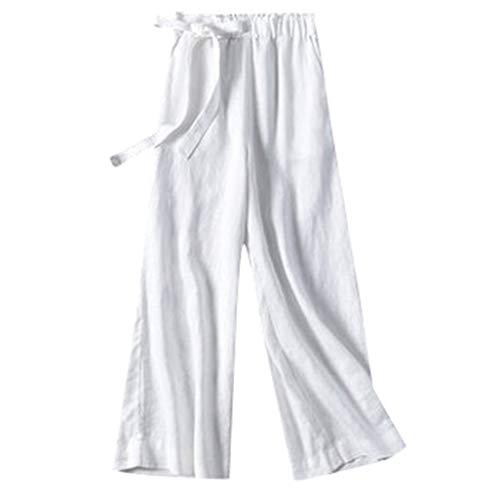 WFRAU Damen Outdoorhose Frauen Übergröße Elastische Taille Pure Farbe Breites Bein Yogahose Freizeithose Strandhosen Jogginhose Haremshose Schlafanzughose Sport Hose Pumphose Schlaghose