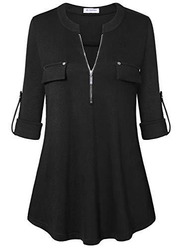 Bulotus Women's 3/4 Sleeve Tunic Casual Top V Neck Shirt-Solid Color,Black,Medium