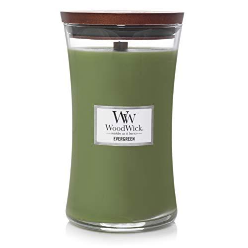 WoodWick Core Immergrün Sanduhrformige große Duftkerze im Glasgefäß, 609.5 g, Glas, Grün/durchsichtig, 10.5 x 10.3 x 17.5 cm