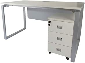Mahmayi MDF Carre Modern Workstation Desk, ME5112WH, White, H75 x W75 x D120 cm, Require Assembly