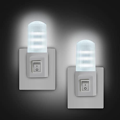 EXTRASTAR Luce Notturna LED, [2 Pezzi] Interruttore retrò Luce Notturna, Luce fredda, Plug-And-Play, Luce Notturna da Presa per Camerette, Soggiorno, Corridoio, Bagno, Cucina, Scale